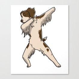 Funny Dabbing Brittany Spaniel Dog Dab Dance Canvas Print
