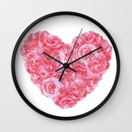 watercolor illustration pink roses heart Wall Clock