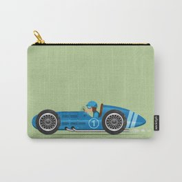 Blue Retro Racing Car Carry-All Pouch
