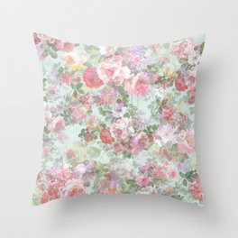 Country chic vintage green blush pink elegant floral Throw Pillow