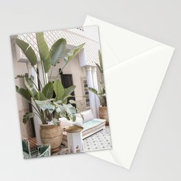 Tropical Plant Leaves In Marrakech Photo   Green Color Travel Photography Morocco Art Print   Boho Riad Interior Design Stationery Cards