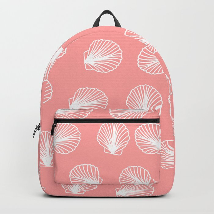 Modern mermaid white seashells hand drawn pattern on pink Backpack