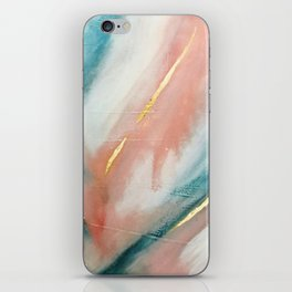 Celestial [3]: a minimal abstract mixed-media piece in Pink, Blue, and gold by Alyssa Hamilton Art iPhone Skin