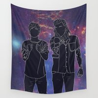louis tomlinson Wall Tapestries featuring Harry & Louis Galaxy by worksbeautifully