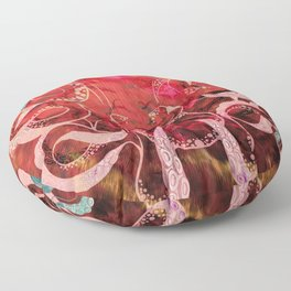 Red Octopus Updated Carlita Peartree Watercolor Stamp Print Floor Pillow