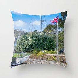 Mylor Bridge - Quay House Flag Pole Throw Pillow