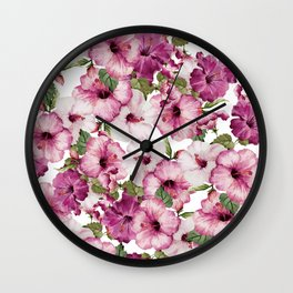 Hibiscus Pattern Wall Clock