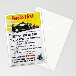 British Grand Prix, Silverstone, 1965, Vintage Poster, car poster Stationery Cards