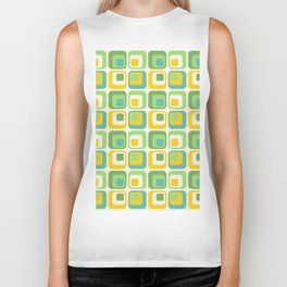 Colorful Nested Squares Pattern Biker Tank
