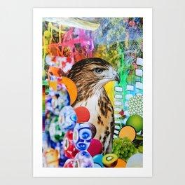 Psychedelic Hawk Art Print