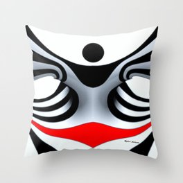 Black White and Red Geometric Abstract Throw Pillow