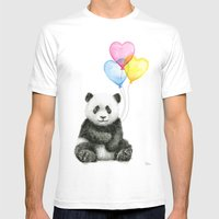 Panda Baby with Heart-Shaped Balloons Whimsical Animals Nursery Decor MEDIUM White Mens Fitted Tee