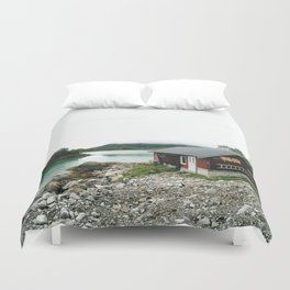 Fisher man house in Norway Duvet Cover
