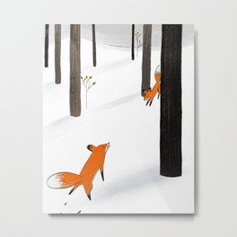 Foxy Encounter Metal Print