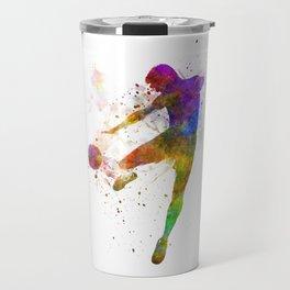 man soccer football player flying kicking silhouette Travel Mug