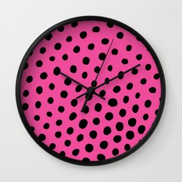 Black Dots with Pink Background Wall Clock