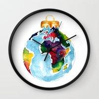 globe Wall Clocks featuring Globe Bauble by Bridget Davidson