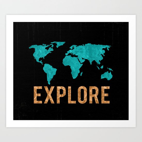 World Map - Teal and Copper Explore Globe Art Print