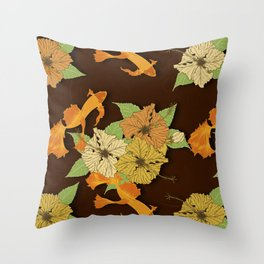 Night Time Goldfish Pond With Hibiscus Pattern Throw Pillow