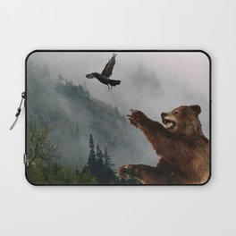 The Trickster - Raven & Grizzly Bear Art Print Laptop Sleeve