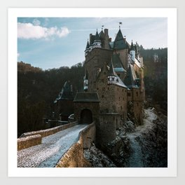 Fairytale Castle in a winter forest in Germany - Landscape and Architecture Art Print