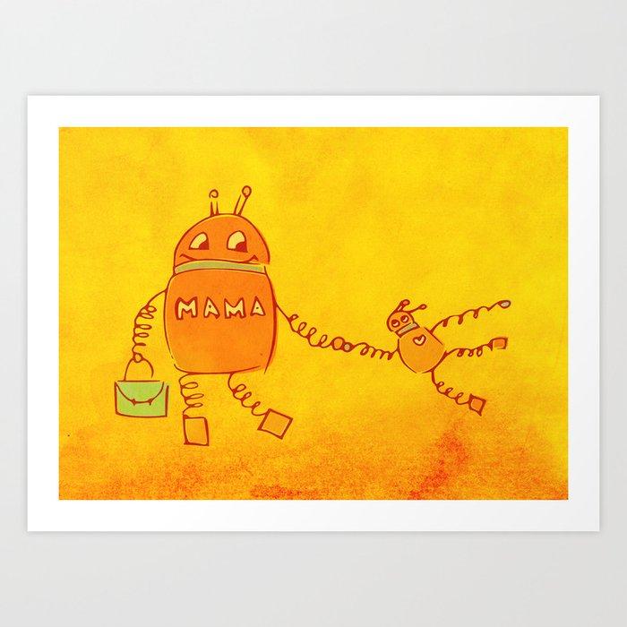 Robomama Robot Mother And Child Art Print