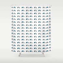 Blue and White Lambretta Pattern Shower Curtain