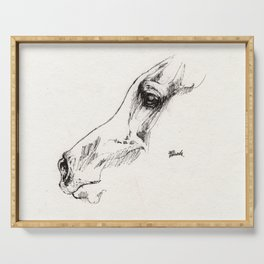 Horse head ink art Serving Tray