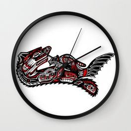 Haida Otter and Baby Wall Clock