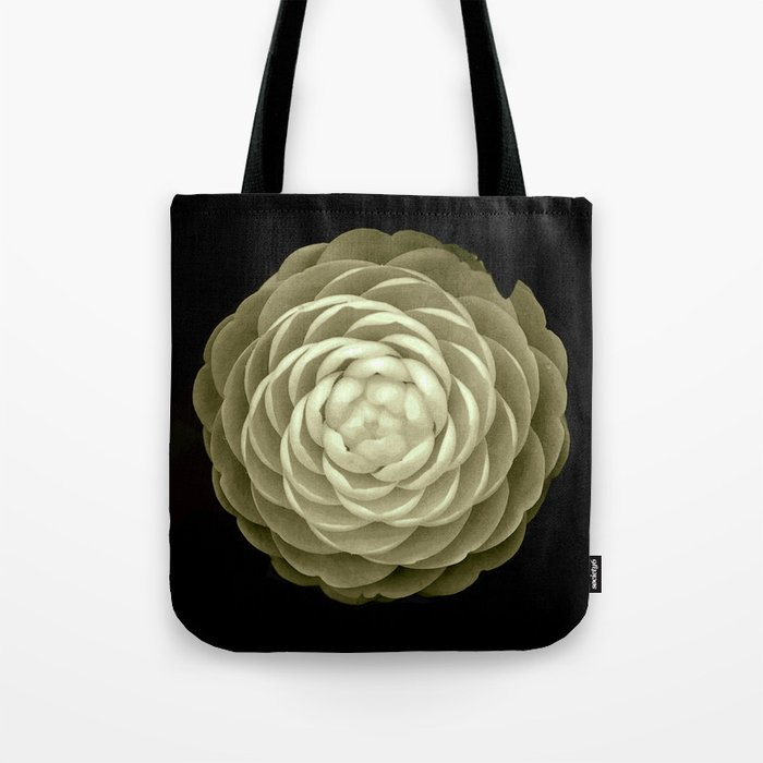 cream camelia on black background Tote Bag
