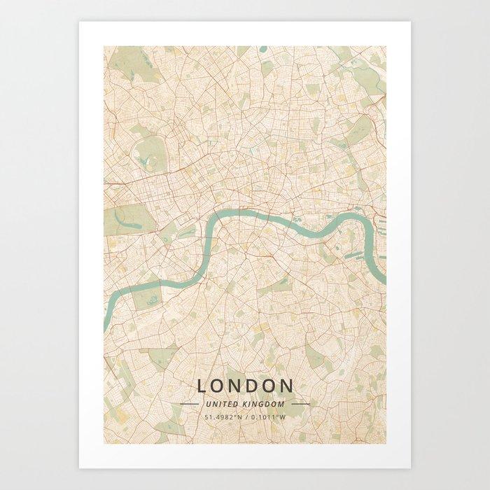 United Kingdom London Map.London United Kingdom Vintage Map Art Print By Designermapart