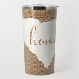 South Carolina is Home - White on Burlap Travel Mug