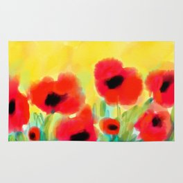 Red poppies - original design by ArtStudio29 - red flowers on yellow background Rug