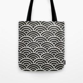 Japanese Seigaiha Wave – Black & White Palette Tote Bag