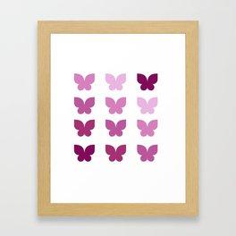 Butterflies in Purple Ombre Framed Art Print