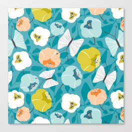 Butterfly Blossom Floral Turquoise Canvas Print