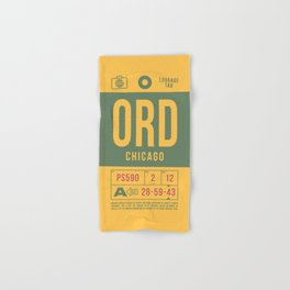 Retro Airline Luggage Tag 2.0 - ORD Chicago O'Hare Airport Illinois Hand & Bath Towel