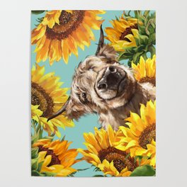 Highland Cow with Sunflowers in Blue Poster