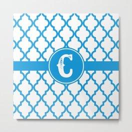 Blue Monogram: Letter C Metal Print