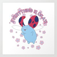 catbug Art Prints featuring Everything is Okay! by Corporeal Figments
