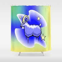 astrology Shower Curtains featuring Astrology, Capricorn by Karl-Heinz Lüpke