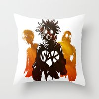 war Throw Pillows featuring WAR by Lukas Stobie
