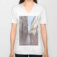 madrid V-neck T-shirts featuring Madrid, Spain by Jane Lacey Smith