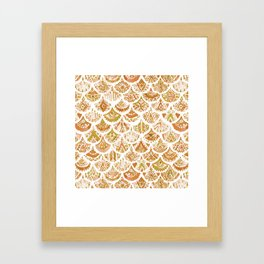 AZTEC MERMAID Golden Tribal Scales Framed Art Print
