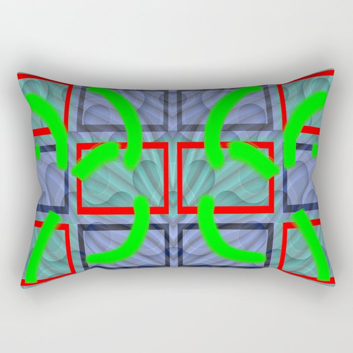 Collage with lines and circles Rectangular Pillow