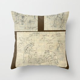 Vintage First World War Art - JM's Sketchbook - Four sketches of soldiers Throw Pillow