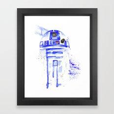 R2-D2 R2D2 droid watercolor Wars Scifi Star FAnart Framed Art Print