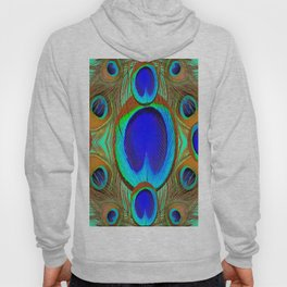 Blue-Green Peacock Feathers Abstract Art Hoody