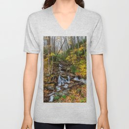 USA Great Smoky Mountains Autumn Stream Nature Parks forest Trees Creek brook Creeks Streams park Forests Unisex V-Neck