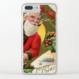 Antique Santa wih pipe Merry Christmas Clear iPhone Case